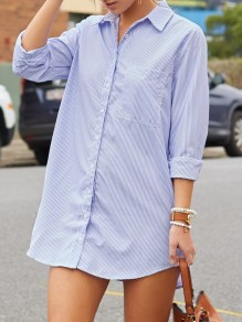 Blue Striped Irregular Pockets Peter Pan Collar Long Sleeve Casual Blouse