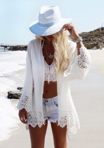 White Eagle Print Lace Fringe Cardigan Bohemia Beach Cover Up Chiffon Kimono