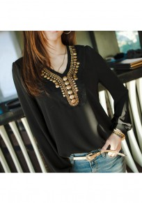 Black Plain Buttons Irregular V-neck Long Sleeve Blouse