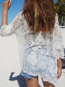 White Floral Lace Embroidery Grenadine Beach Party Cover Up Kimono