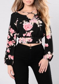 Black Floral Cut Out Crop Long Sleeve Blouse