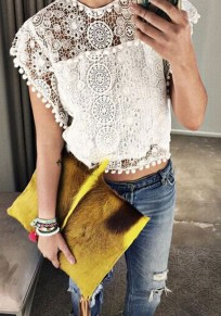 White Patchwork Lace Hollow-out Crop Round Neck Blouse
