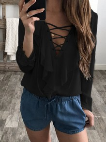 Black Plain Wavy Edge Plunging Neckline Fashion Chiffon Blouse