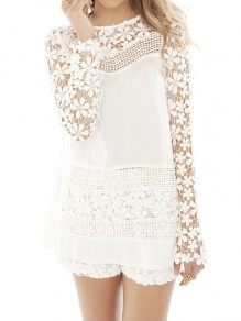 White Patchwork Lace Hollow-out Zipper Vintage Round Neck Blouse