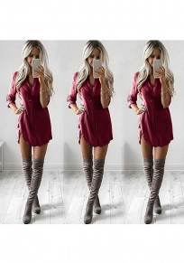 Wine Red Plain Single Breasted Long Sleeve Casual Blouse