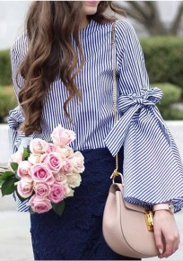 Blue Striped Belt Bow Round Neck Long Sleeve Sweet Blouse