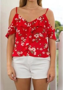 Red Floral Print Ruffle Off Shoulder V-neck Spaghetti Strap Bohemian Blouse