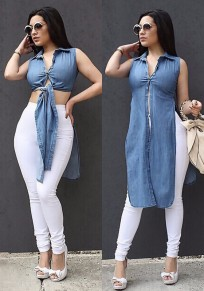 Blue Single Breasted Side Slit Turndown Collar Sleeveless Blouse