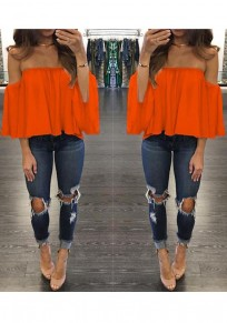 Orange Draped Boat Neck 3/4 Sleeve Loose Blouse