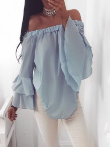 Blue Irregular Ruffle Boat Neck Long Sleeve Blouse