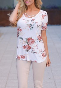 White Floral Draped Round Neck Short Sleeve Casual Blouse