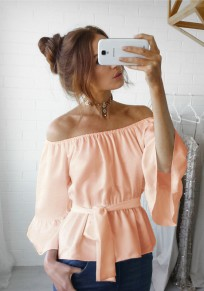 Pink Belt Boat Neck Elbow Sleeve Casual Blouse