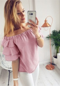 Purple Ruffle Off Shoulder Going out Adorable Cute Blouse