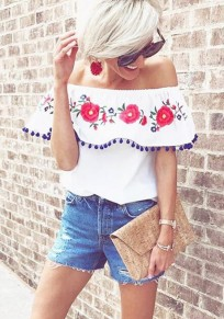 White Floral Irregular Ruffl Tassel Boat Neck Short Sleeve Blouse