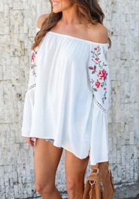 White Flowers Lace Cut Out Embroidery Off Shoulder Blouse