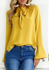 Yellow Cut Out Irregular Lace-up Flutter Sleeve Fashion Blouse