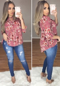 Red Floral Print V-neck Long Sleeve Casual Blouse