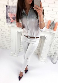 Grey Patchwork Pockets Turndown Collar Long Sleeve Fashion Blouse