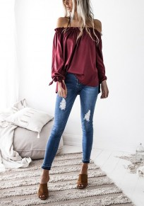 Wine Red Irregular Boat Neck Long Sleeve Fashion Dacron Blouse