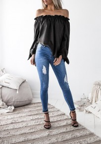 Black Irregular Boat Neck Long Sleeve Fashion Dacron Blouse