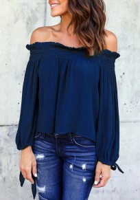 Blue Pleated Lace-up Off Shoulder Boat Neck Long Sleeve Casual Blouse