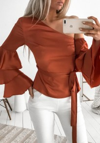 Orange Asymmetric Shoulder Drawstring Long Sleeve Fashion Dacron Blouse