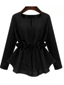 Black Drawstring Peplum Plus Size Round Neck Long Sleeve Blouse