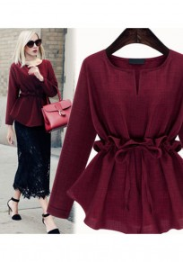 Wine Red Drawstring Peplum Plus Size Round Neck Long Sleeve Blouse