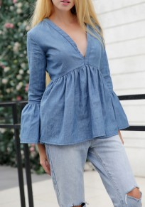 Blue Pleated Peplum Ruffle V-neck Lantern Sleeve Fashion Denim Blouse