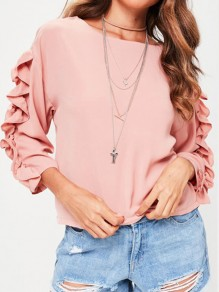 Pink Cascading Ruffle Round Neck Long Sleeve Fashion Blouse