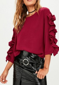 Wine Red Cascading Ruffle Round Neck Long Sleeve Fashion Blouse