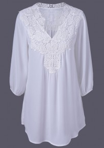 White Patchwork Lace 3/4 Sleeve Casual Blouse