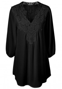 Black Patchwork Lace 3/4 Sleeve Casual Blouse