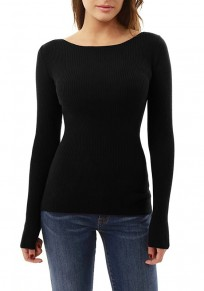 Black Irregular Round Neck Long Sleeve Fashion Blouse