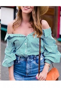 Green Striped Print Single Breasted Off Shoulder Long Sleeve Blouse