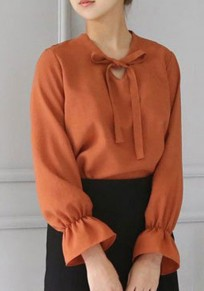 Orange Bow V-neck Long Sleeve Chiffon Fashion Blouse