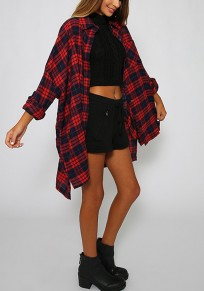 Red Plaid Pockets Buttons Turndown Collar Long Sleeve Loose Fashion Blouse