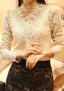 Beige Patchwork Lace Beading Grenadine Band Collar Long Sleeve Elegant Blouse