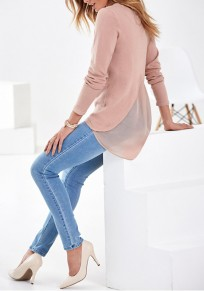 Pink Patchwork Irregular Pleated Round Neck Long Sleeve Fashion Blouse