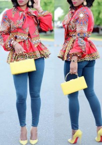 Red Floral Pleated Bow Long Sleeve Peplum Tribal Print Aztec Dashiki African Blouse