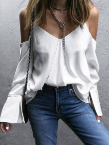 White Condole Belt Irregular V-neck Long Sleeve Fashion Blouse
