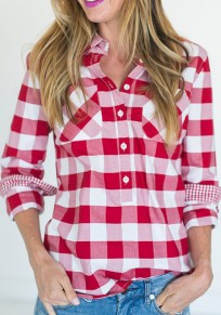 Red Plaid Buttons Pockets Turndown Collar Long Sleeve Blouse