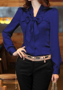 Navy Blue Single Breasted Bow Peter Pan Collar Long Sleeve Elegant Blouse