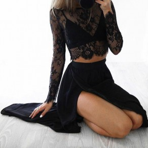 Black Flowers Lace Midriff Round Neck Long Sleeve Fashion Blouse