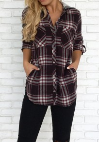 Coffee Plaid Print Single Breasted Hooded Long Sleeve Fashion Blouse
