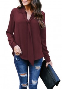 Burgundy Lace-up V-neck Long Sleeve Chiffon Fashion Blouse