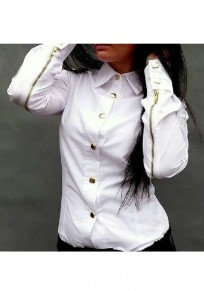 White Single Breasted Zipper Turndown Collar Long Sleeve Fashion Blouse