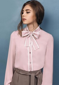 Pink Single Breasted Band Collar Fashion Blouse