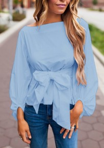 Blue Bow Boat Neck Long Sleeve Fashion Blouse