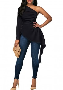 Black Irregular Pleated Asymmetric Shoulder High-low Formal Elegant Long Sleeve Blouse